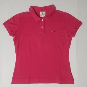 Lacoste Women's Pink Polo Shirt Blouse Size 38